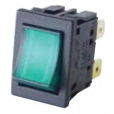 Клавишный выключатель двуполюсной (зеленый)